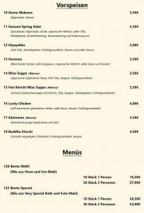 Speisekarte Muenster 2020